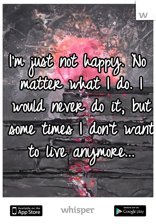 I'm just not happy. No matter what I do. I would never do it, but some times I don't want to live anymore...