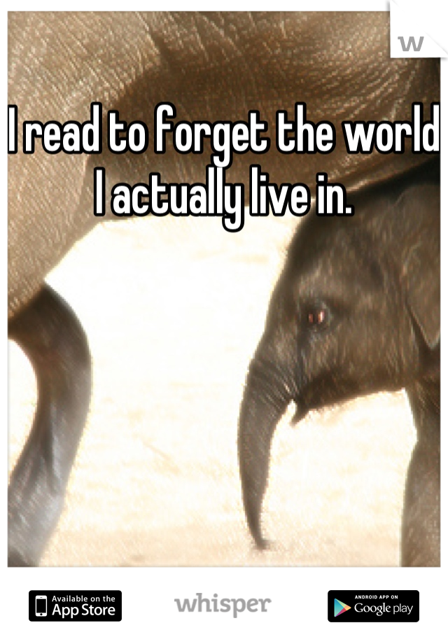 I read to forget the world I actually live in.