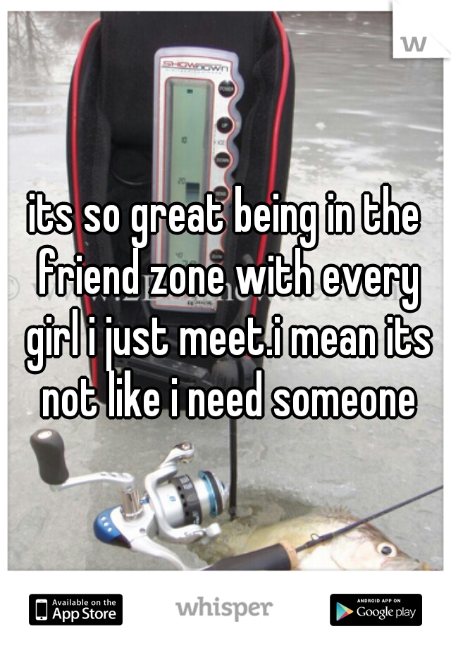 its so great being in the friend zone with every girl i just meet.i mean its not like i need someone