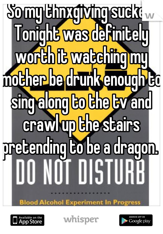 So my thnxgiving sucked.  Tonight was definitely worth it watching my mother be drunk enough to sing along to the tv and crawl up the stairs pretending to be a dragon.