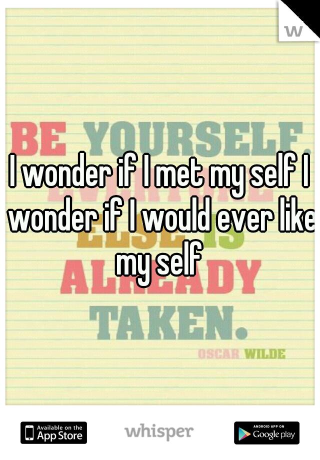 I wonder if I met my self I wonder if I would ever like my self