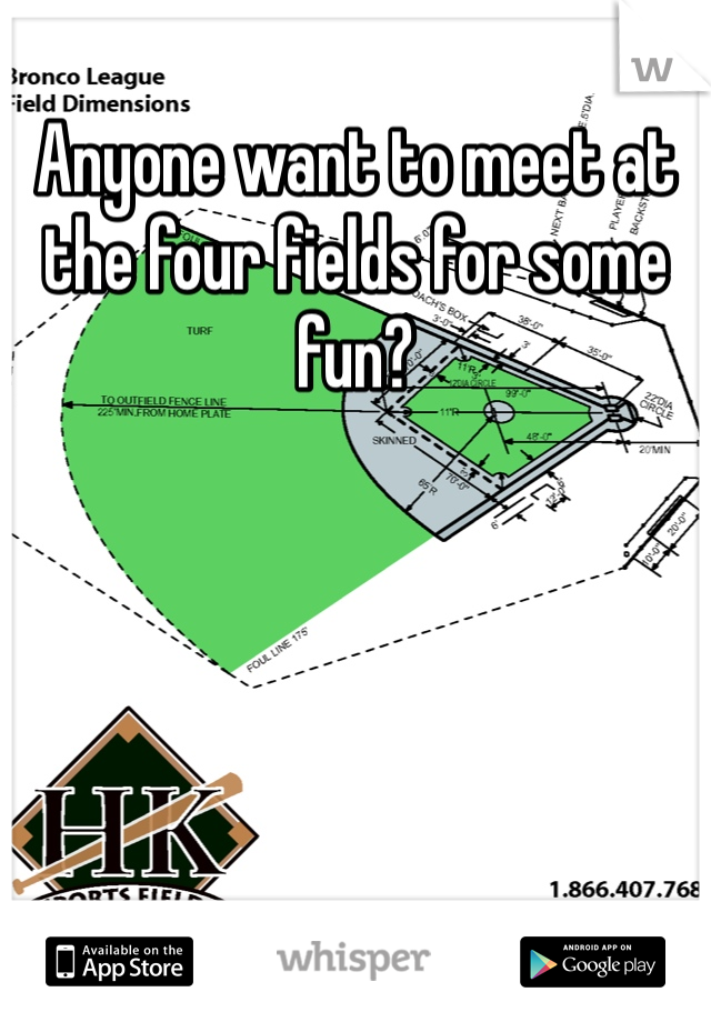 Anyone want to meet at the four fields for some fun?