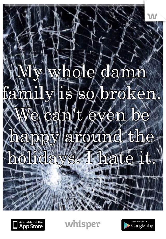 My whole damn family is so broken. We can't even be happy around the holidays. I hate it.