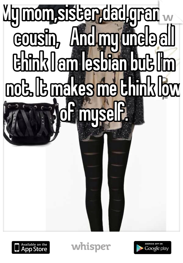 My mom,sister,dad,grandpa,     cousin,   And my uncle all think I am lesbian but I'm not. It makes me think low of myself.