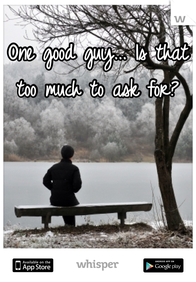 One good guy... Is that too much to ask for?