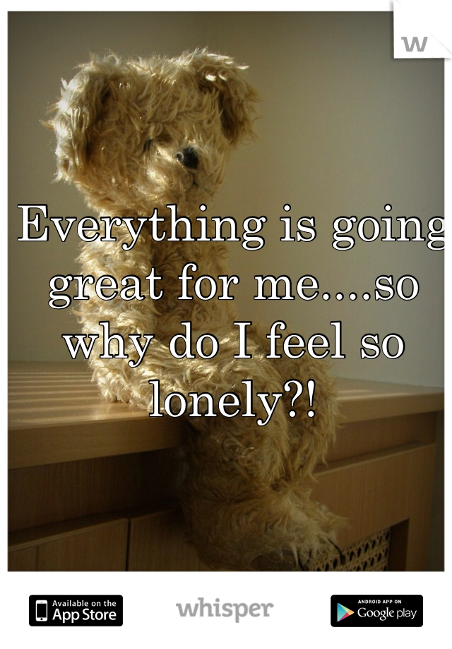 Everything is going great for me....so why do I feel so lonely?!
