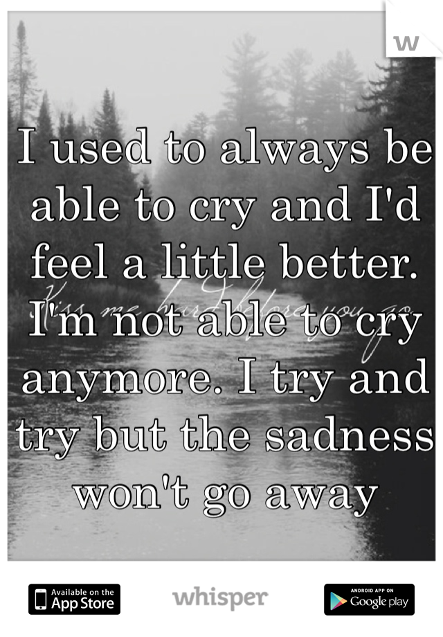 I used to always be able to cry and I'd feel a little better. I'm not able to cry anymore. I try and try but the sadness won't go away