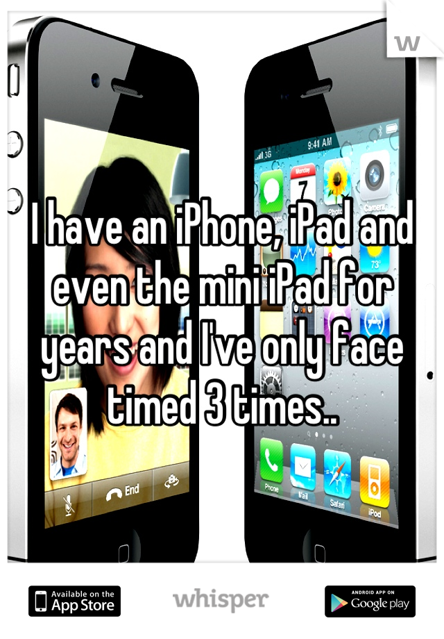 I have an iPhone, iPad and even the mini iPad for years and I've only face timed 3 times..