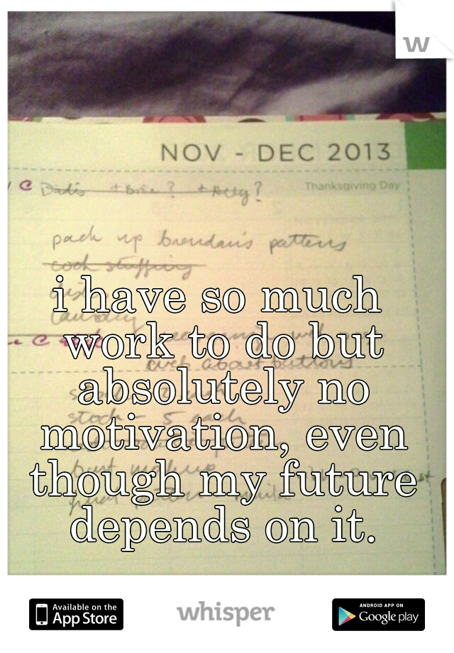 i have so much work to do but absolutely no motivation, even though my future depends on it.