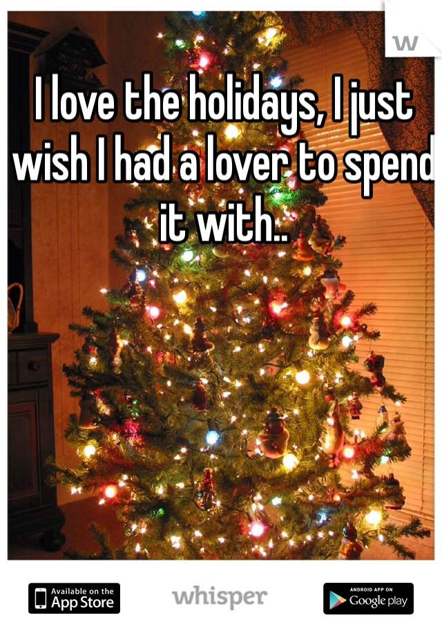 I love the holidays, I just wish I had a lover to spend it with..