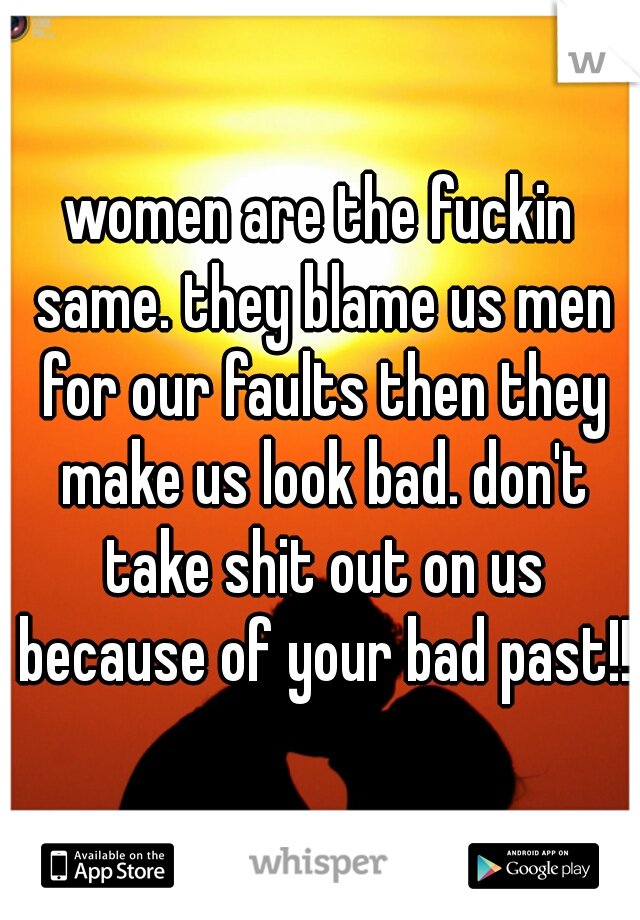 women are the fuckin same. they blame us men for our faults then they make us look bad. don't take shit out on us because of your bad past!!