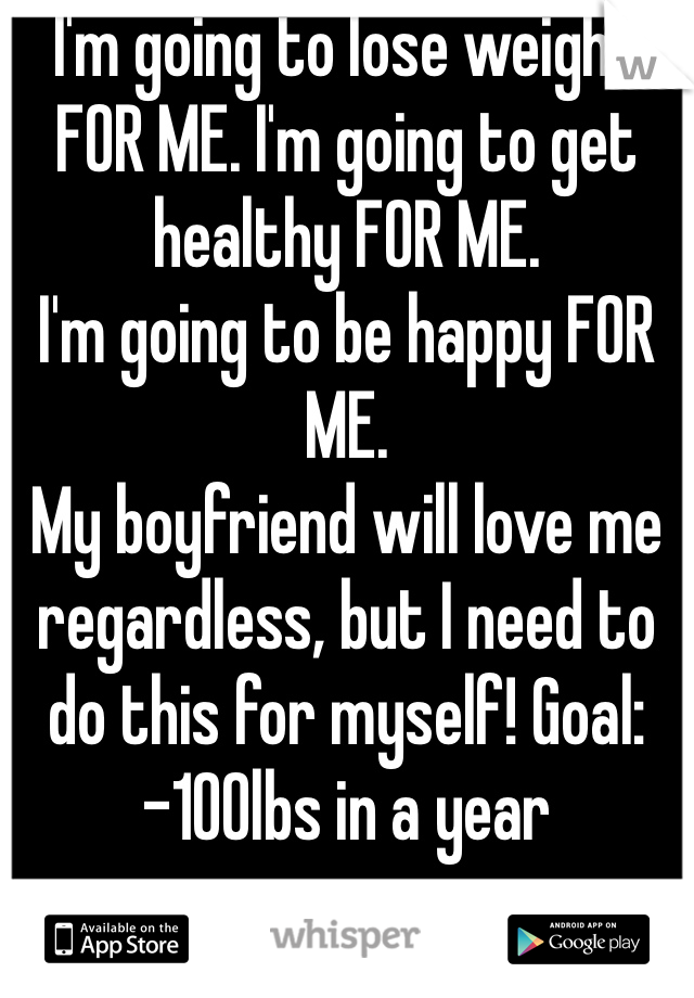 I'm going to lose weight FOR ME. I'm going to get healthy FOR ME.  I'm going to be happy FOR ME. My boyfriend will love me regardless, but I need to do this for myself! Goal: -100lbs in a year