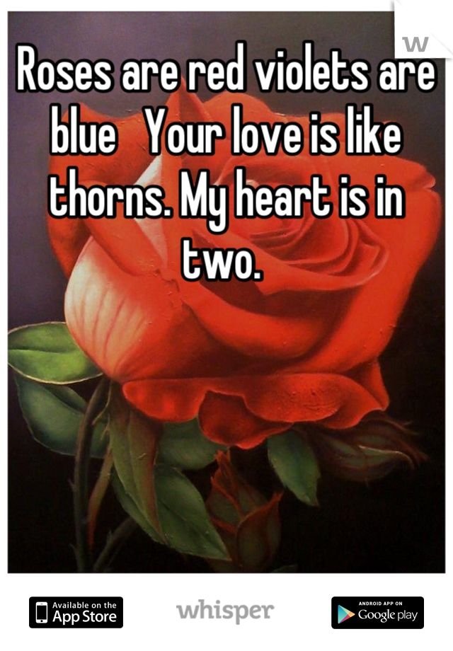 Roses are red violets are blue   Your love is like thorns. My heart is in two.