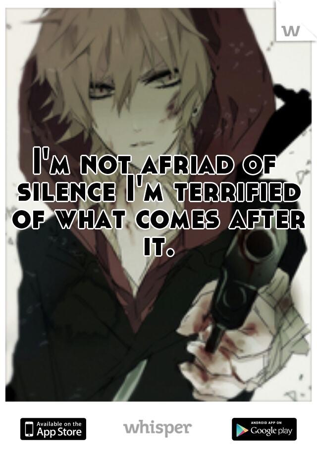I'm not afriad of silence I'm terrified of what comes after it.