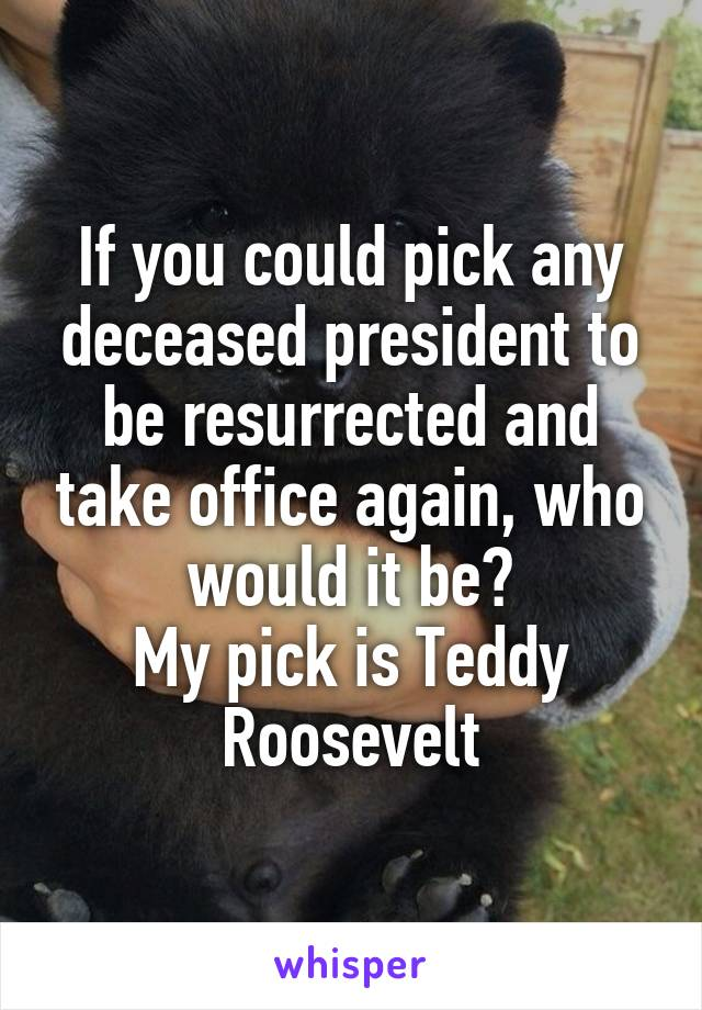 If you could pick any deceased president to be resurrected and take office again, who would it be? My pick is Teddy Roosevelt