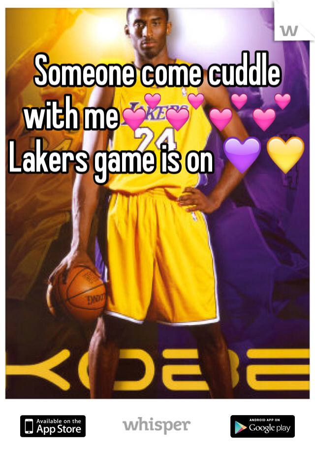 Someone come cuddle with me💕💕💕💕 Lakers game is on 💜💛