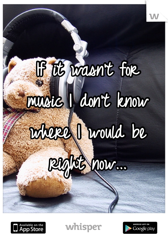 If it wasn't for  music I don't know  where I would be  right now...