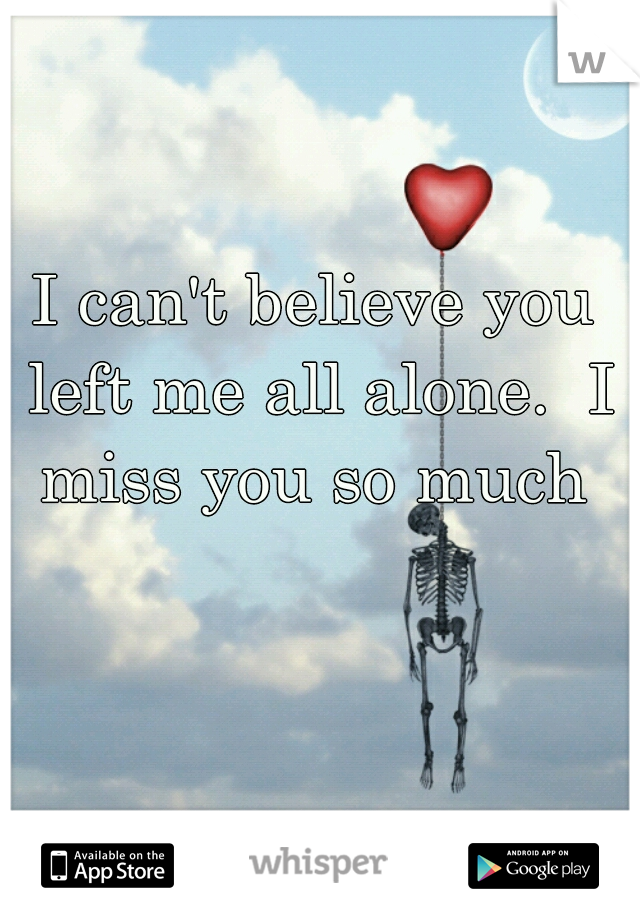 I can't believe you left me all alone.  I miss you so much