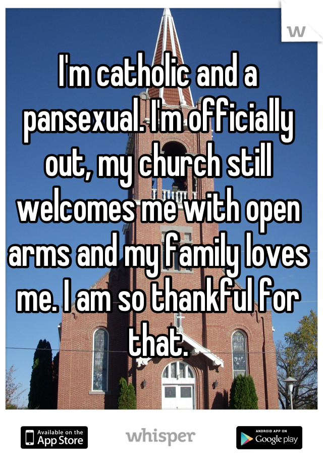 I'm catholic and a pansexual. I'm officially out, my church still welcomes me with open arms and my family loves me. I am so thankful for that.