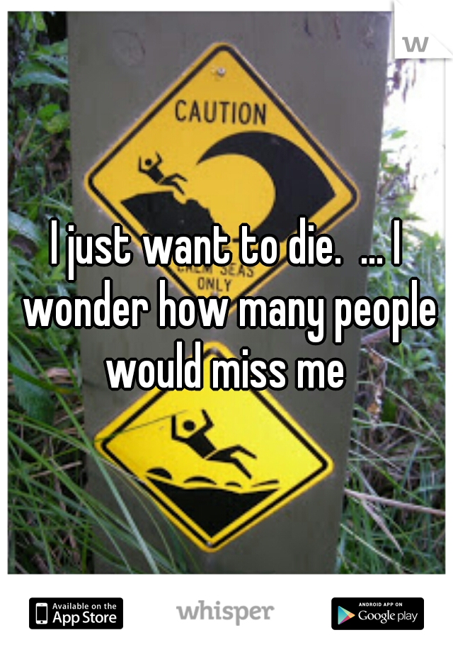 I just want to die.  ... I wonder how many people would miss me