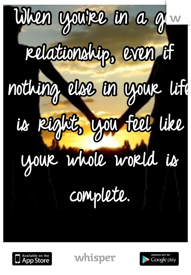 When you're in a good relationship, even if nothing else in your life is right, you feel like your whole world is complete.