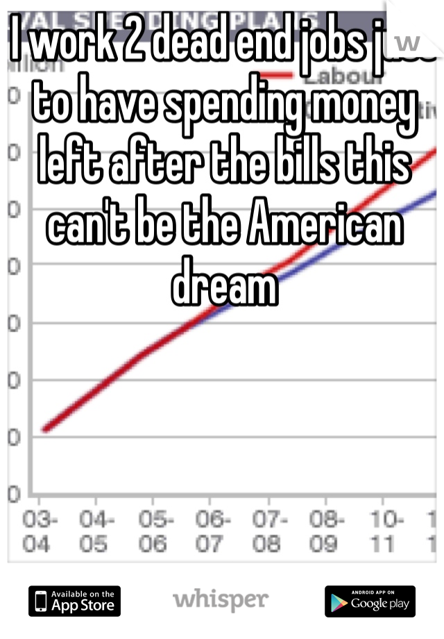 I work 2 dead end jobs just to have spending money left after the bills this can't be the American dream