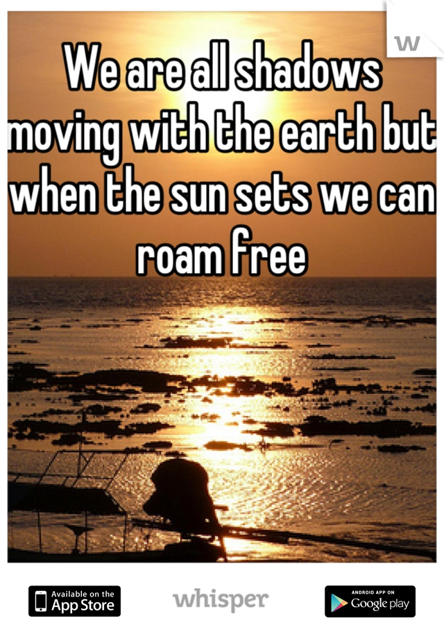 We are all shadows moving with the earth but when the sun sets we can roam free