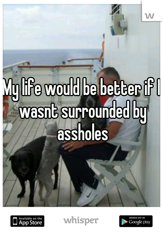 My life would be better if I wasnt surrounded by assholes