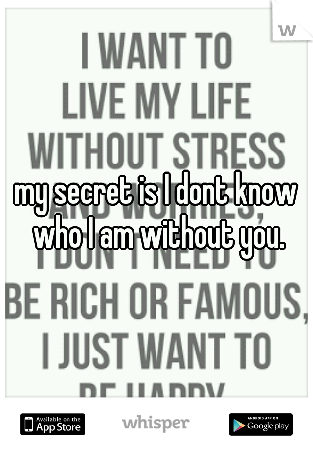 my secret is I dont know who I am without you.