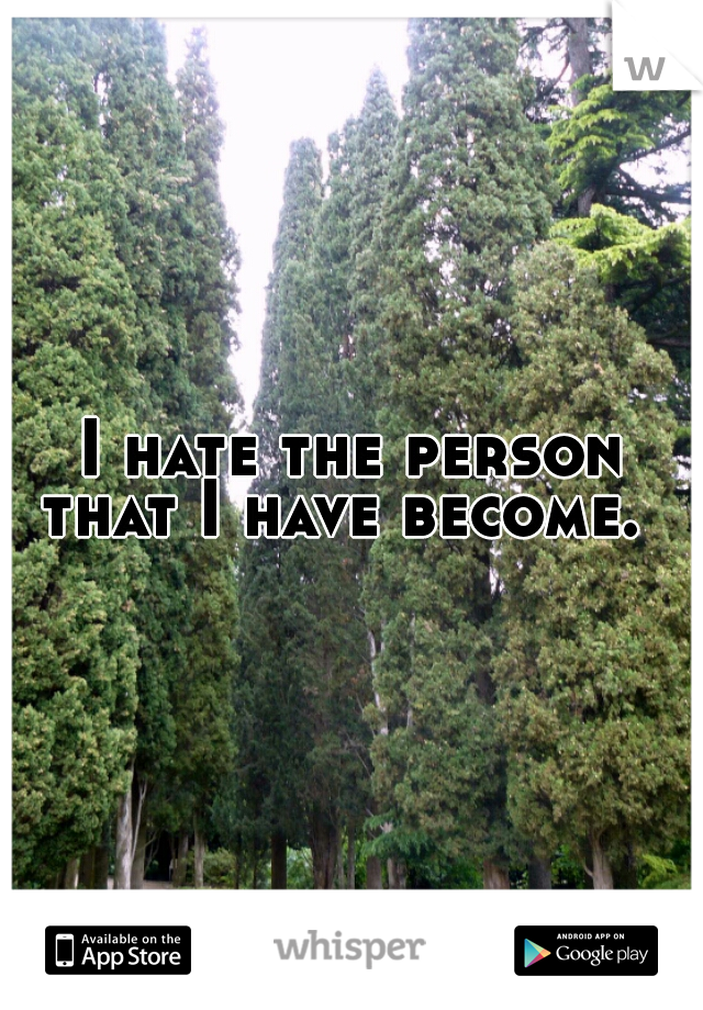 I hate the person that I have become.