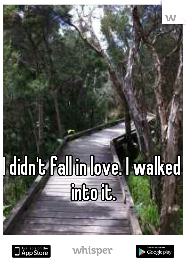 I didn't fall in love. I walked  into it.
