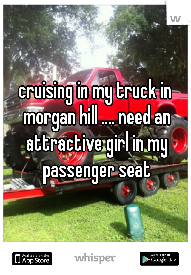 cruising in my truck in morgan hill .... need an attractive girl in my passenger seat