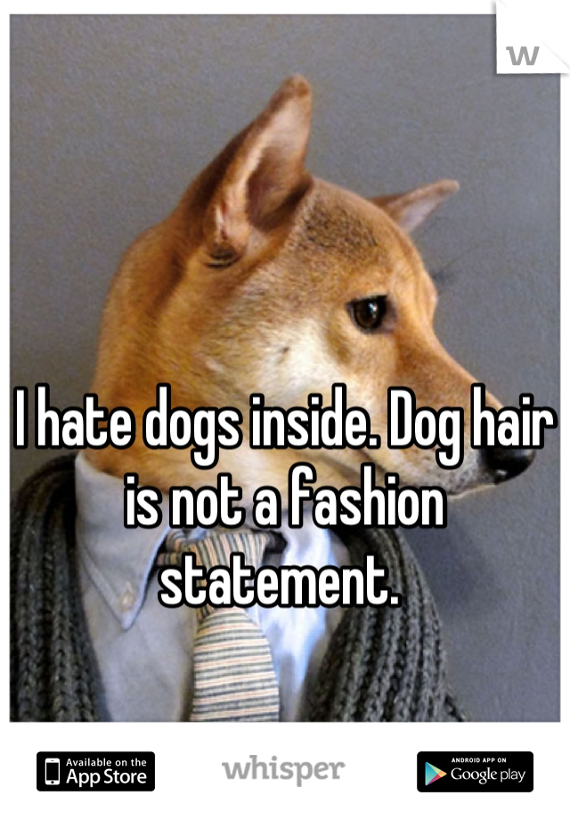 I hate dogs inside. Dog hair is not a fashion statement.