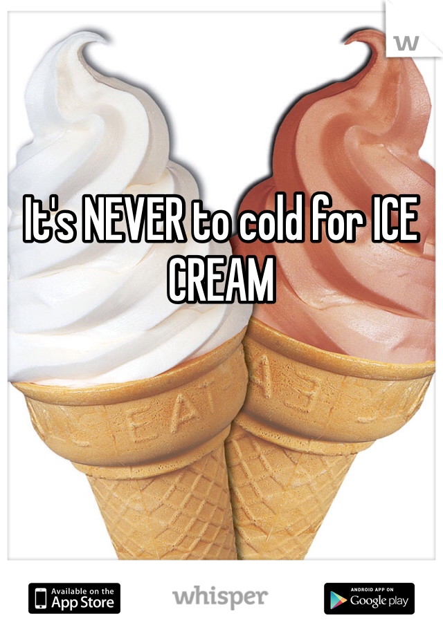 It's NEVER to cold for ICE CREAM