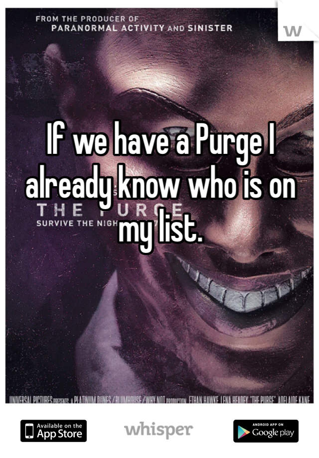 If we have a Purge I already know who is on my list.