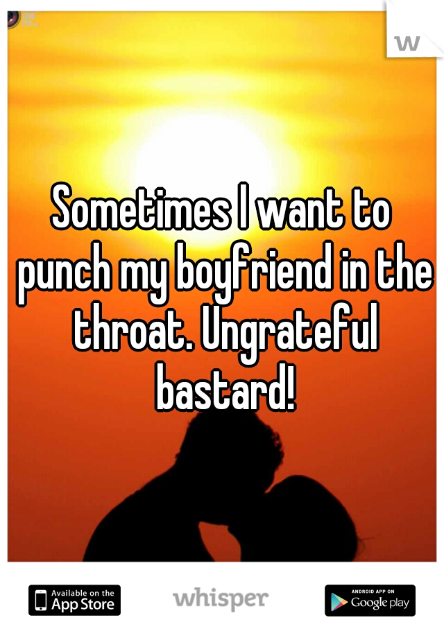 Sometimes I want to punch my boyfriend in the throat. Ungrateful bastard!