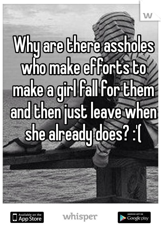 Why are there assholes who make efforts to make a girl fall for them and then just leave when she already does? :'(