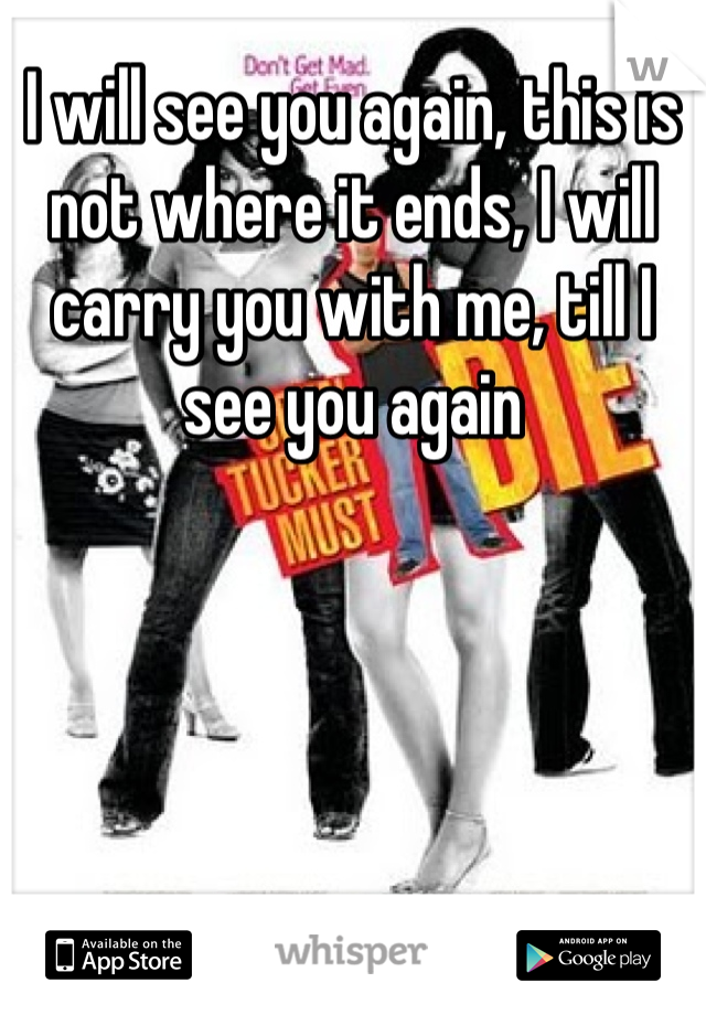I will see you again, this is not where it ends, I will carry you with me, till I see you again