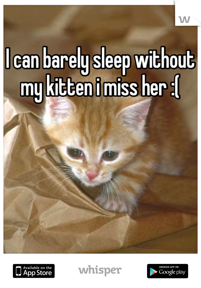 I can barely sleep without my kitten i miss her :(