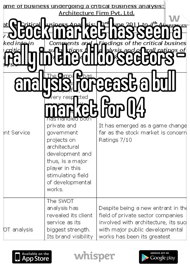 Stock market has seen a rally in the dildo sectors - analysis forecast a bull market for Q4