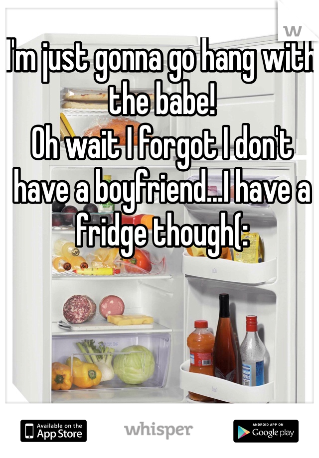 I'm just gonna go hang with the babe!  Oh wait I forgot I don't have a boyfriend...I have a fridge though(: