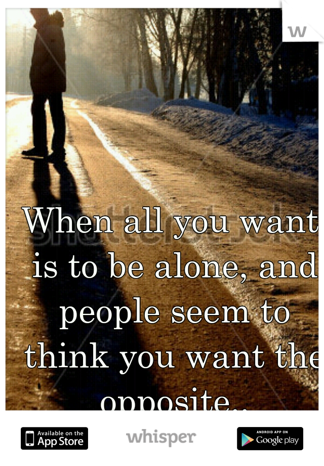 When all you want is to be alone, and people seem to think you want the opposite..