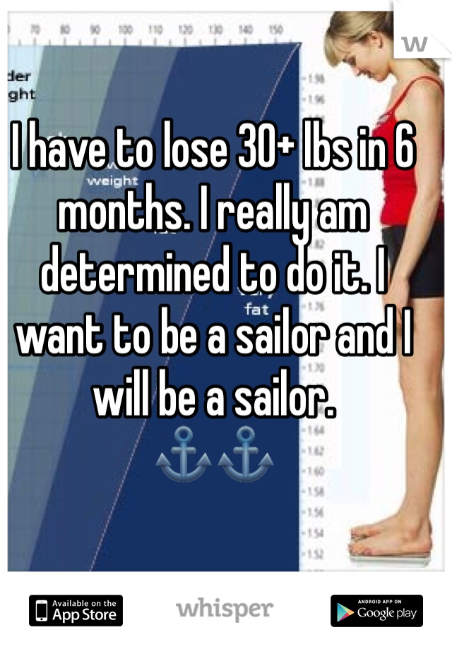 I have to lose 30+ lbs in 6 months. I really am determined to do it. I want to be a sailor and I will be a sailor. ⚓️⚓️