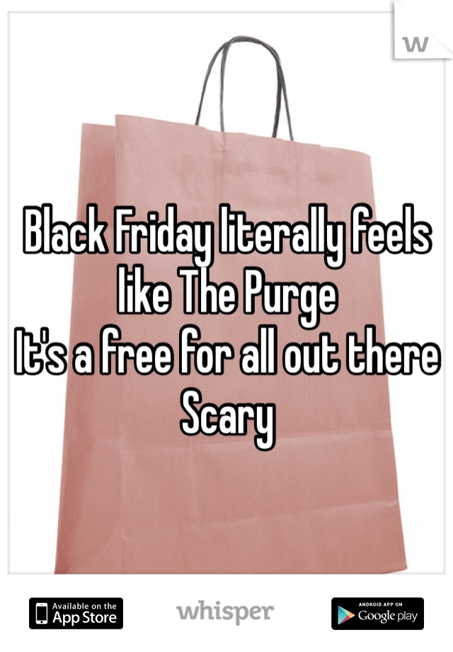 Black Friday literally feels like The Purge It's a free for all out there  Scary