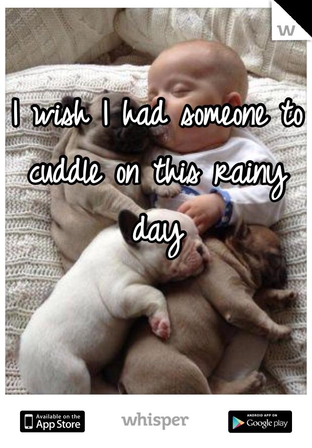 I wish I had someone to cuddle on this rainy day