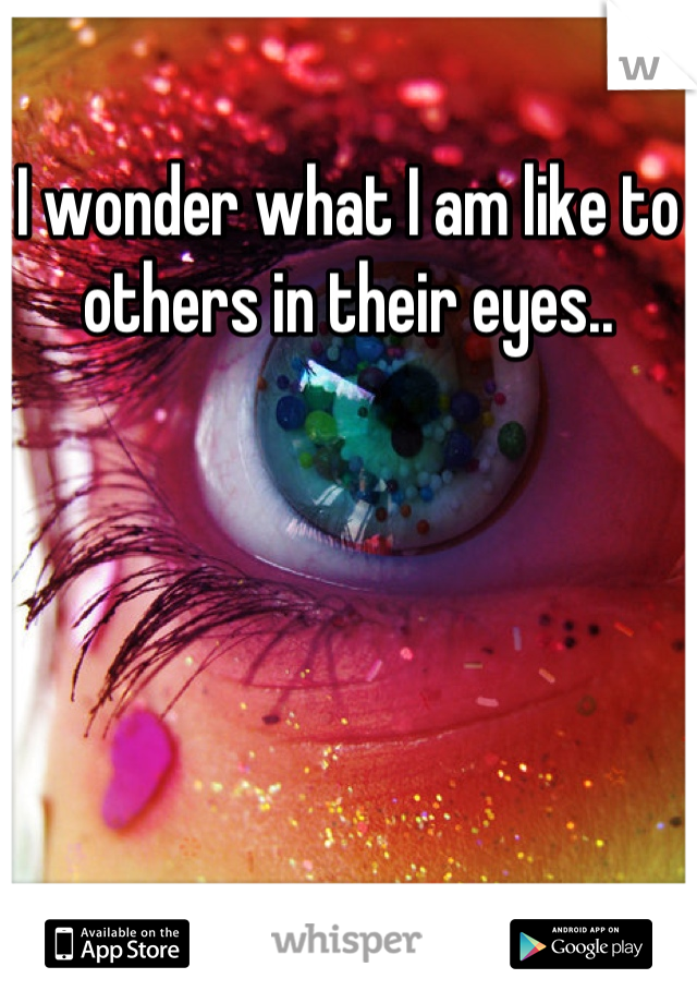 I wonder what I am like to others in their eyes..
