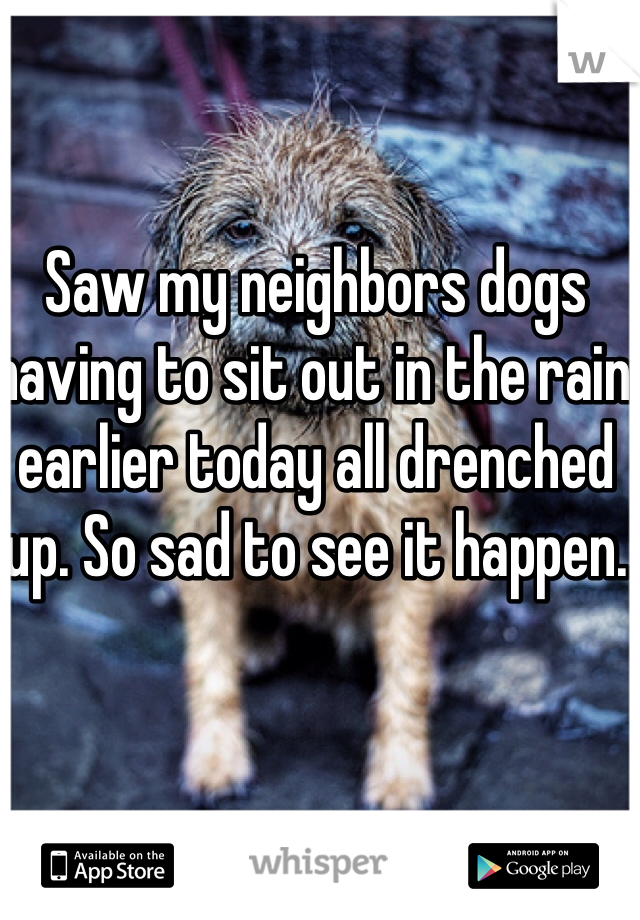 Saw my neighbors dogs having to sit out in the rain earlier today all drenched up. So sad to see it happen.