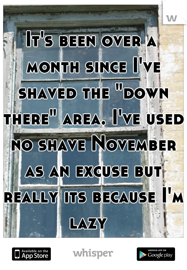 """It's been over a month since I've shaved the """"down there"""" area. I've used no shave November as an excuse but really its because I'm lazy"""