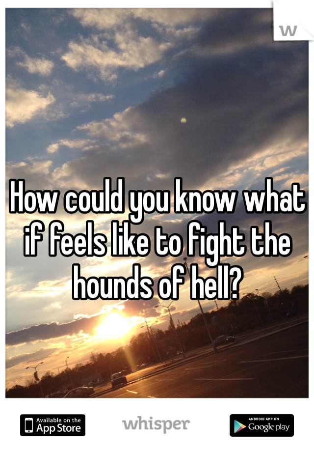 How could you know what if feels like to fight the hounds of hell?