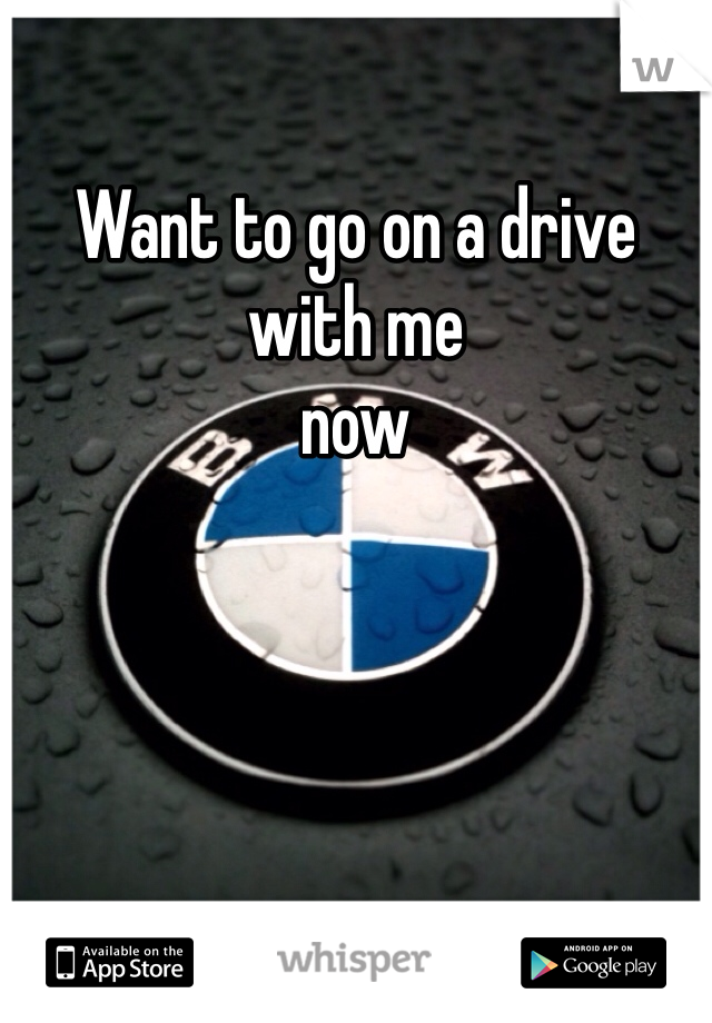 Want to go on a drive with me  now